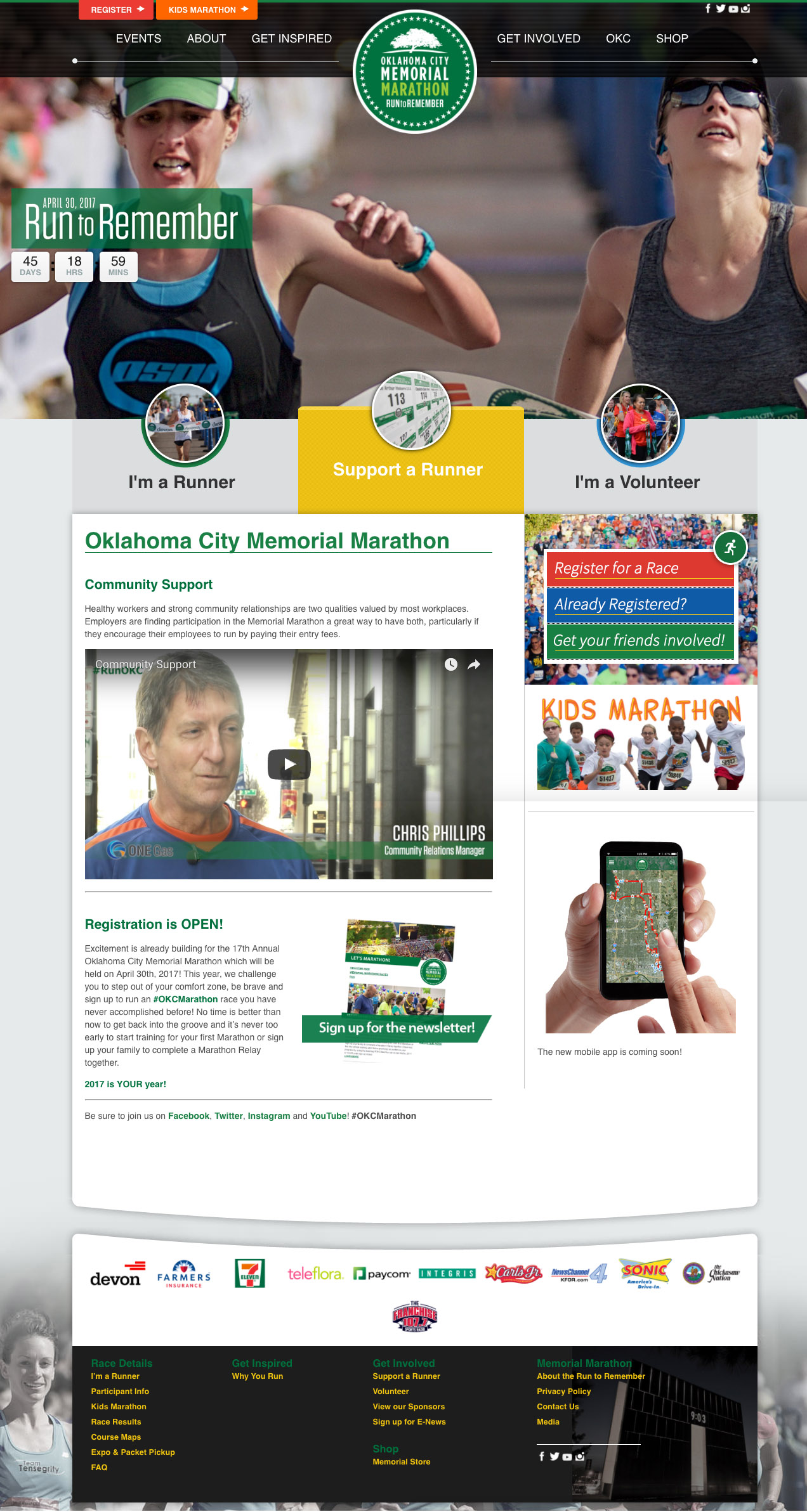 screenshot of the homepage for the oklahoma city memorial marathon