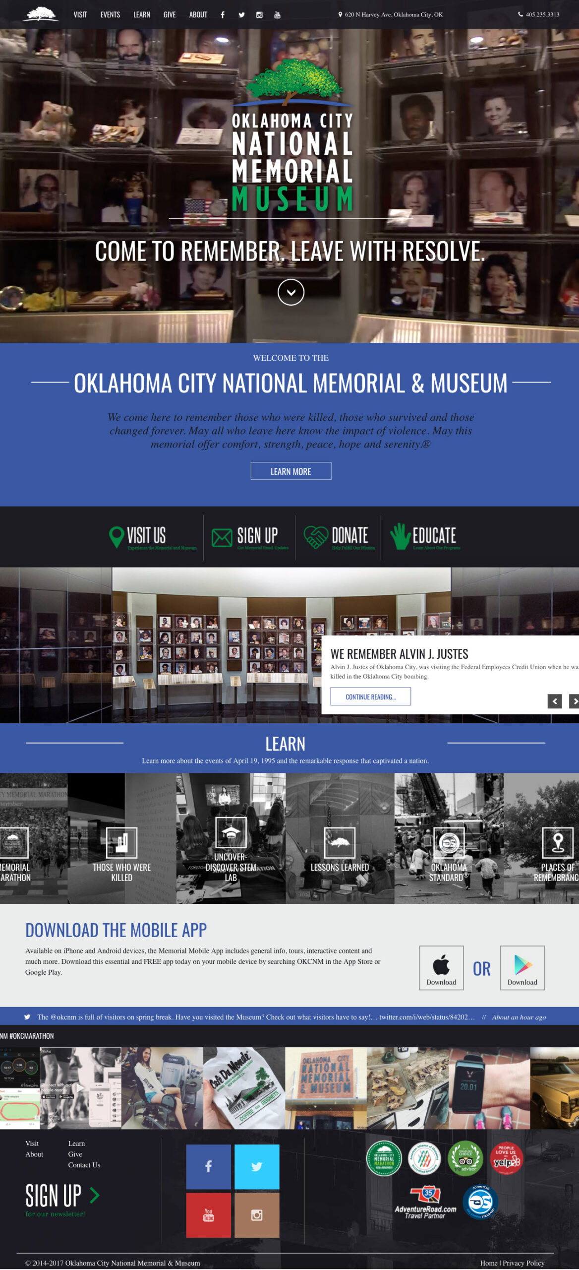 extended screenshot of the entire homepage for the oklahoma city national memorial