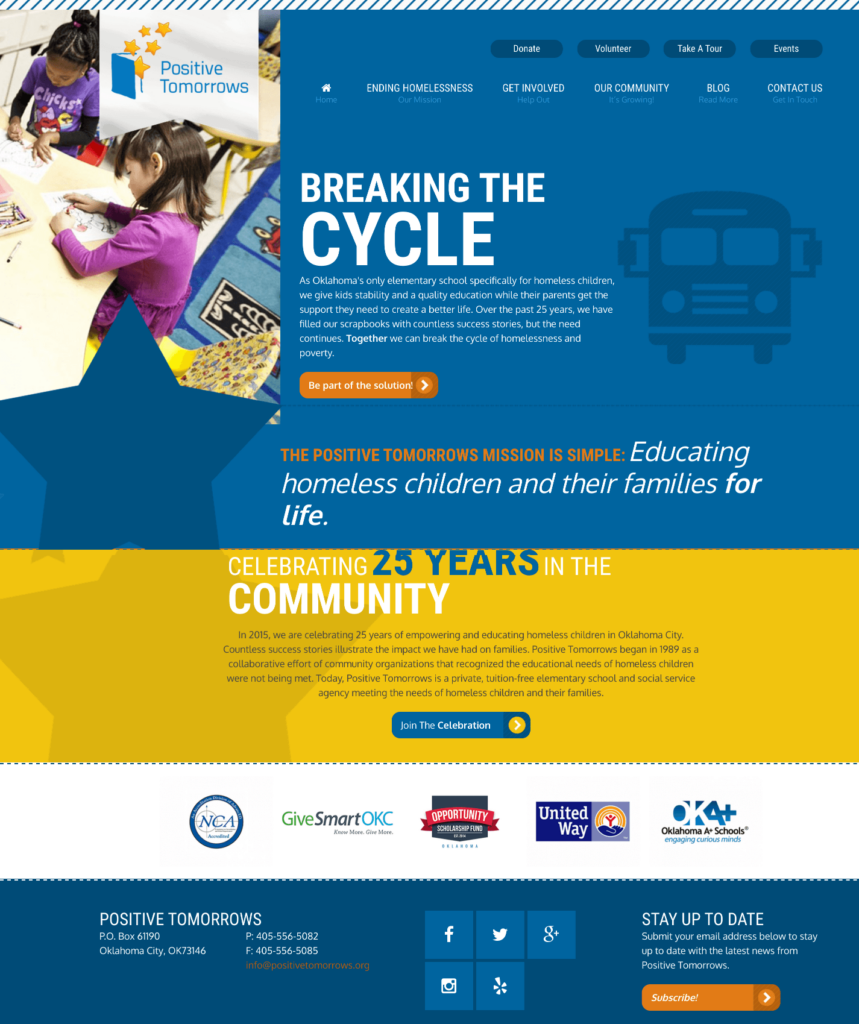 Homepage view for a nonprofit website that supports homeless children