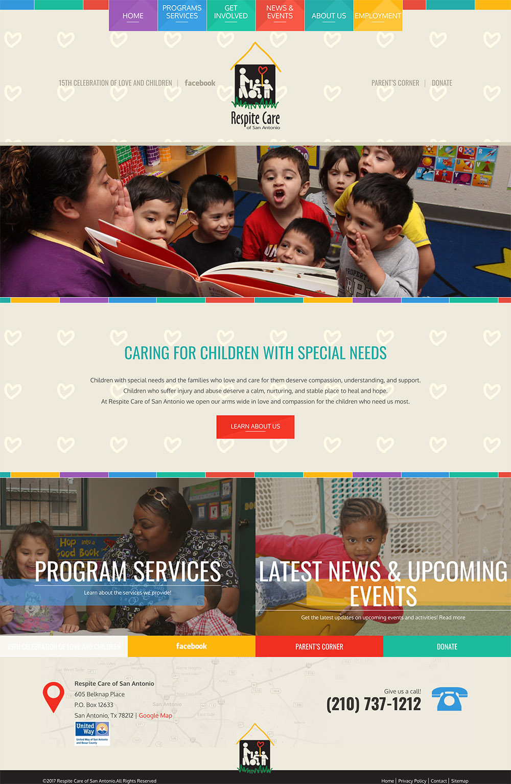 Homepage view of the Respite Care of San Antonio website