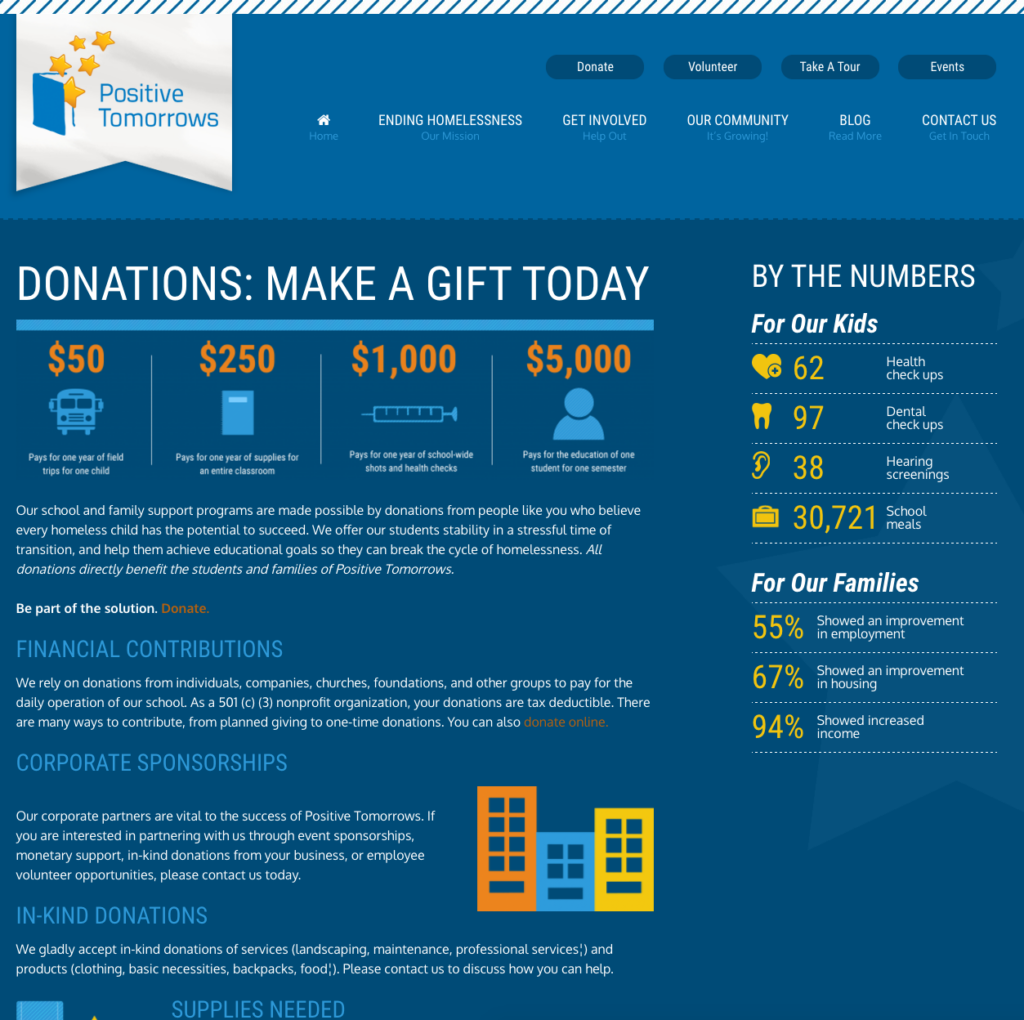 Screenshot for the donation landing page for a nonprofit website