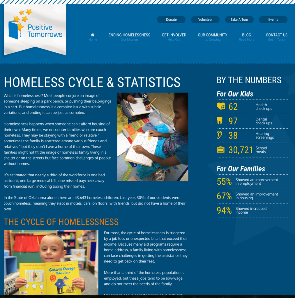 Detail page for a non-profit that shows statistics