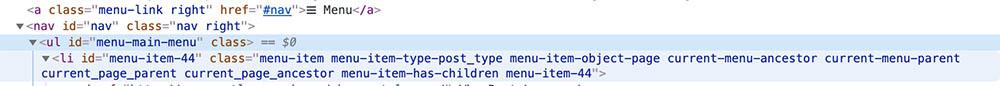 screenshot of menu code in WordPress