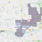 Map of the urban renewal areas of Oklahoma City that qualify for a grant to help with marketing, web design and other items.