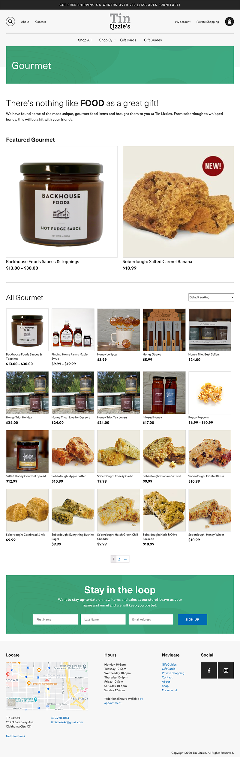 Screenshot of the Tin Lizzies product landing page built with WooCommerce by GGC Digital