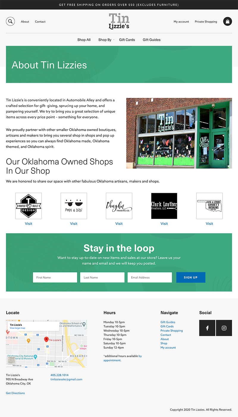 Screenshot of a standard internal page for Tin Lizzies built with WooCommerce by GGC Digital