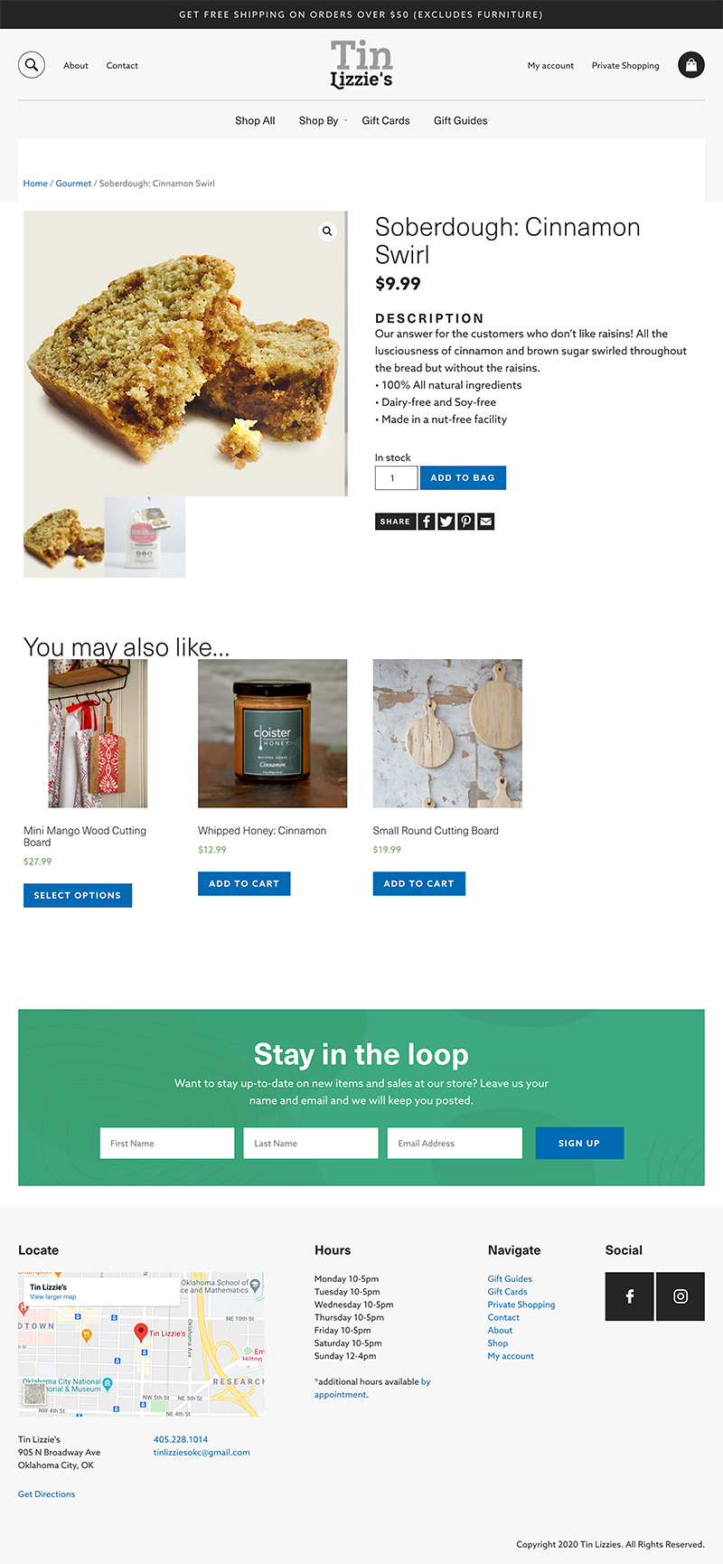 Screenshot of the Tin Lizzies product detail page built in WordPress by GGC Digital