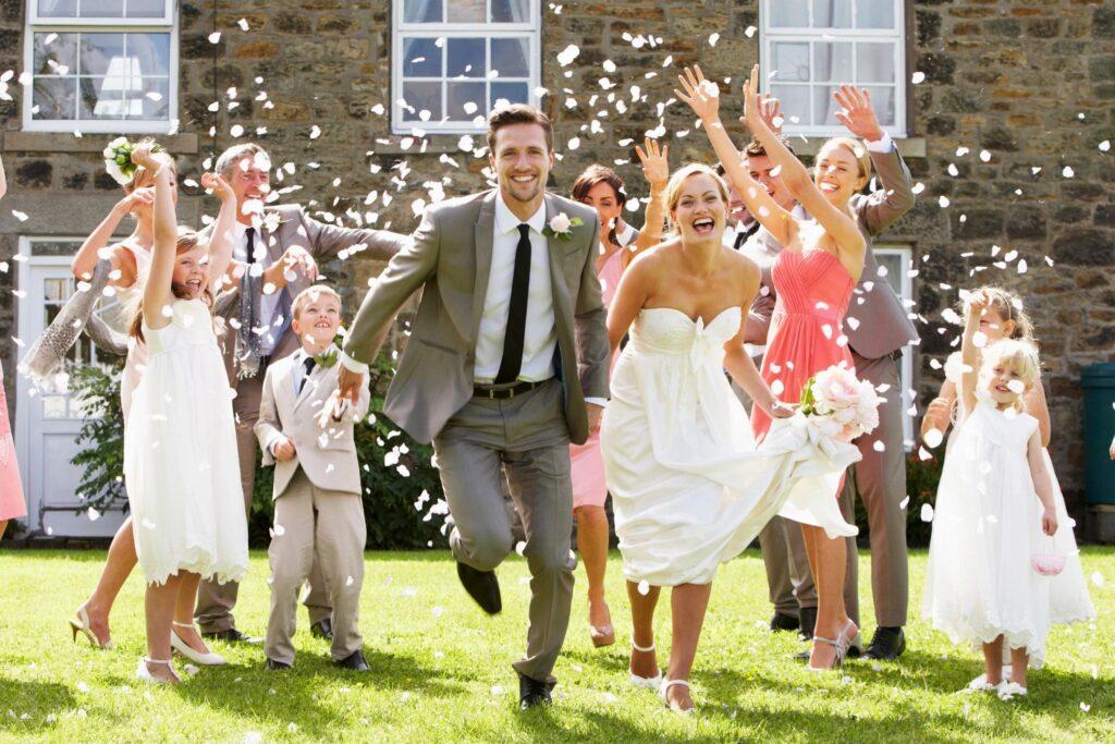 Bride and Groom run