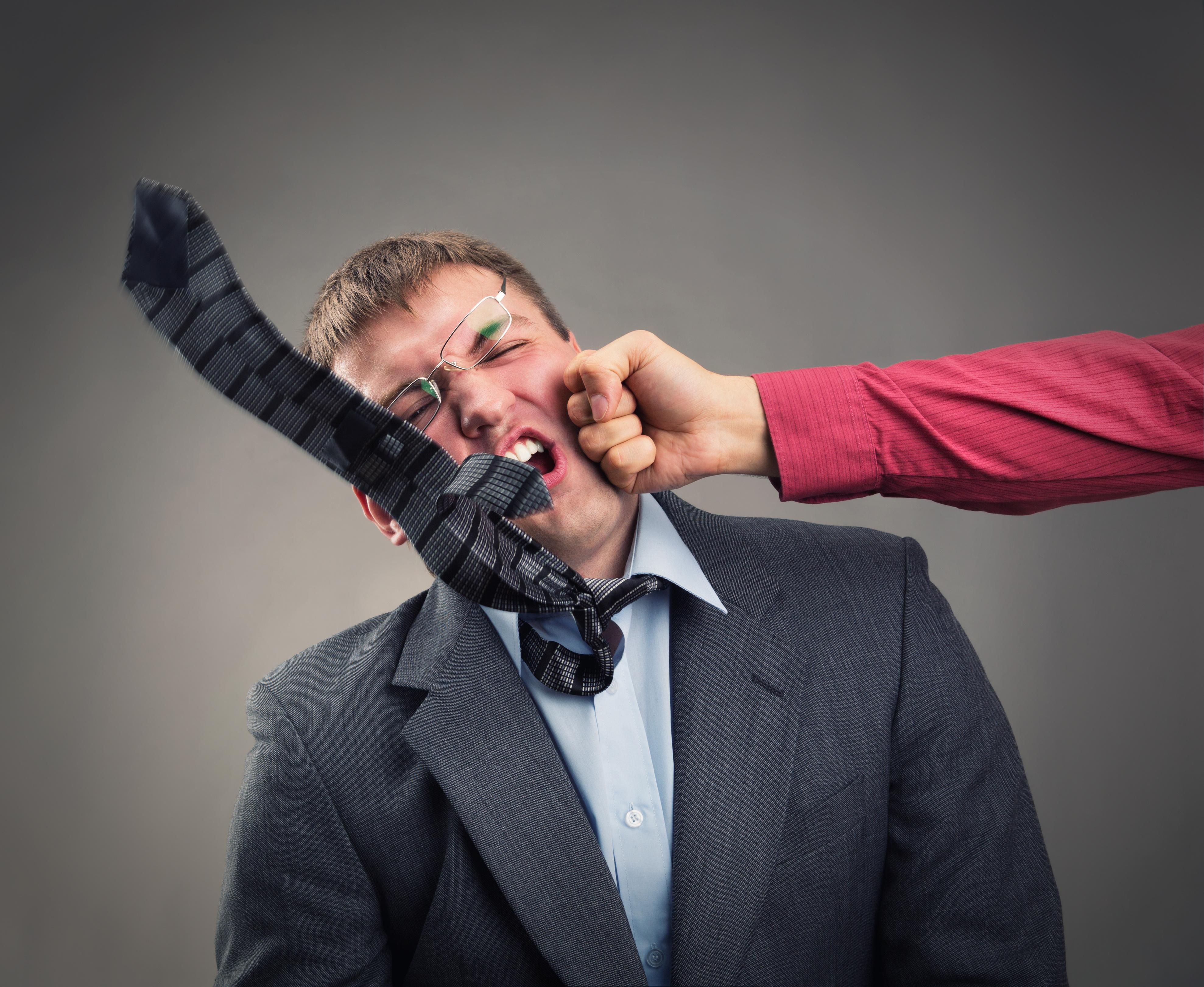 office worker fight, punch, office fight