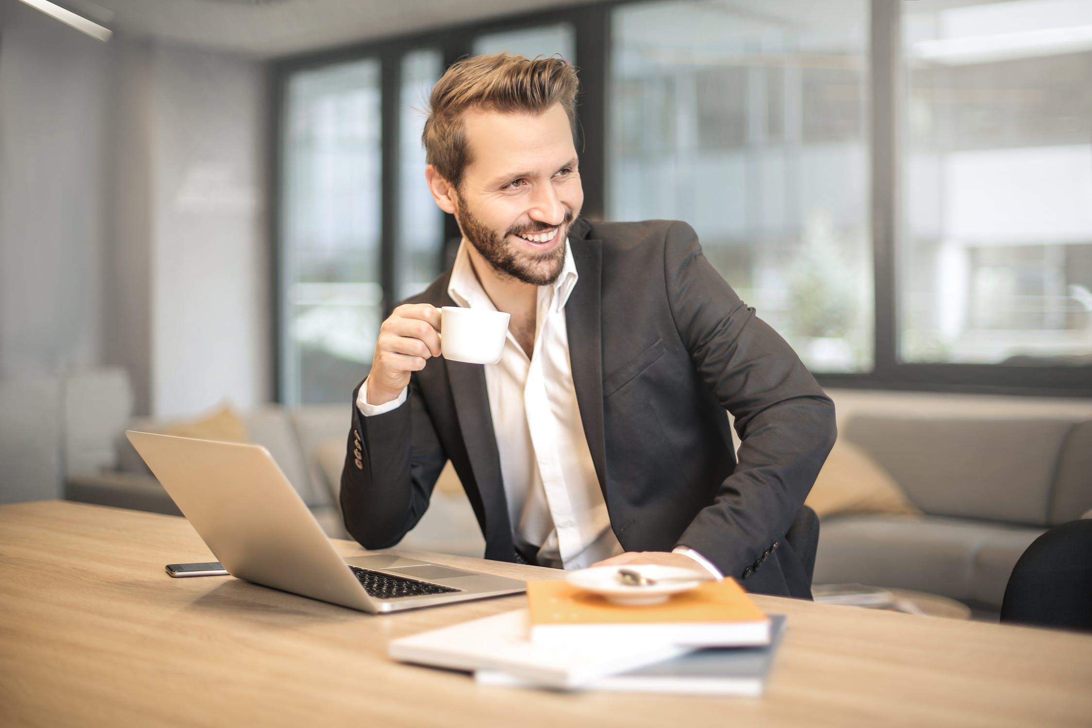 boss, coffee, worker, employee, smile