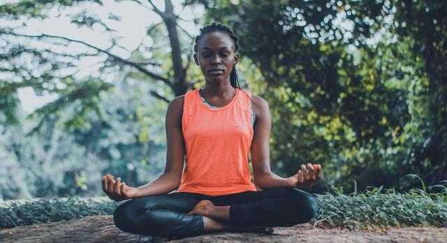 woman meditating, meditation, mental health