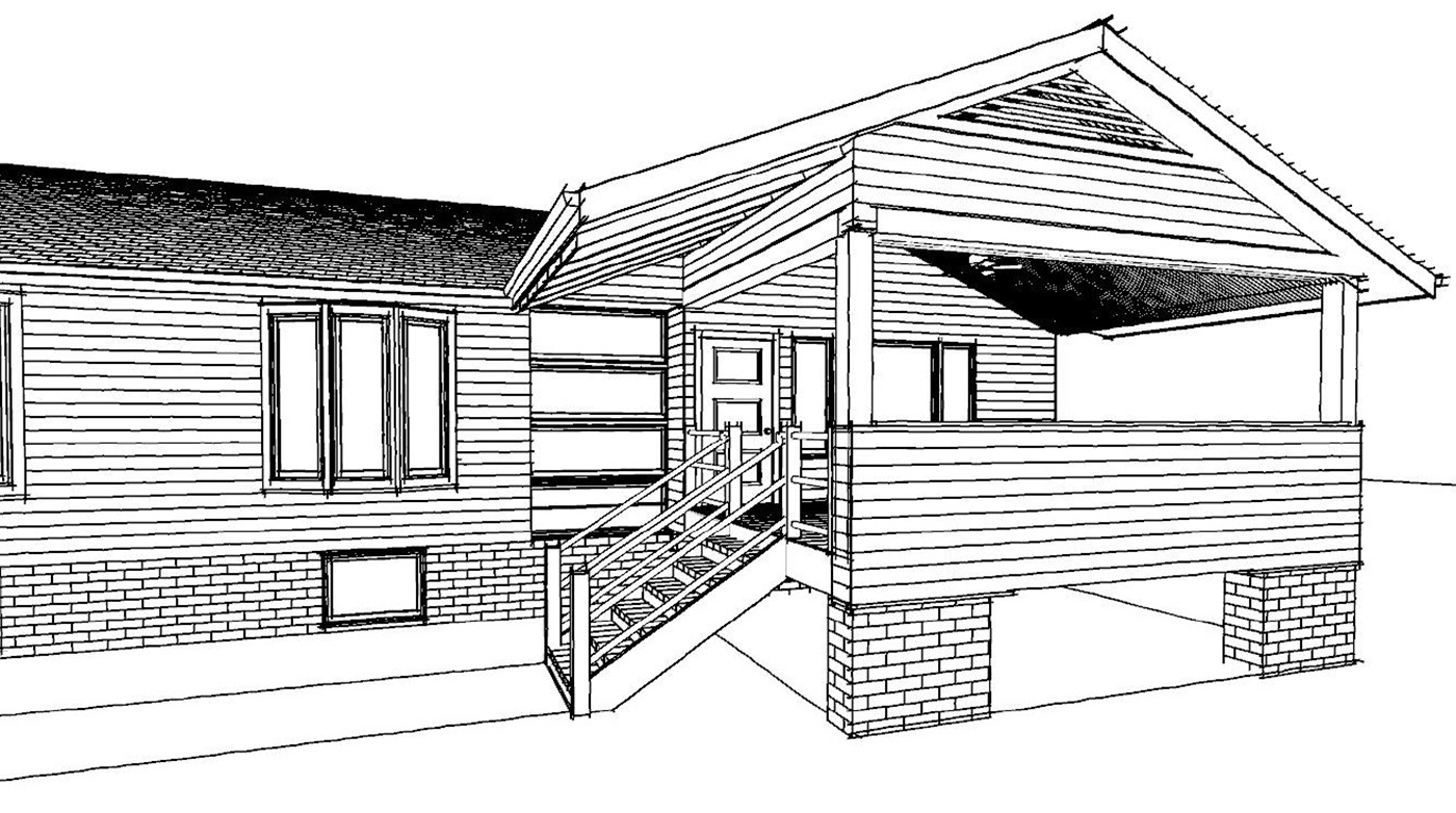 NJW Construction from Blueprint to Reality exterior remodel line drawing