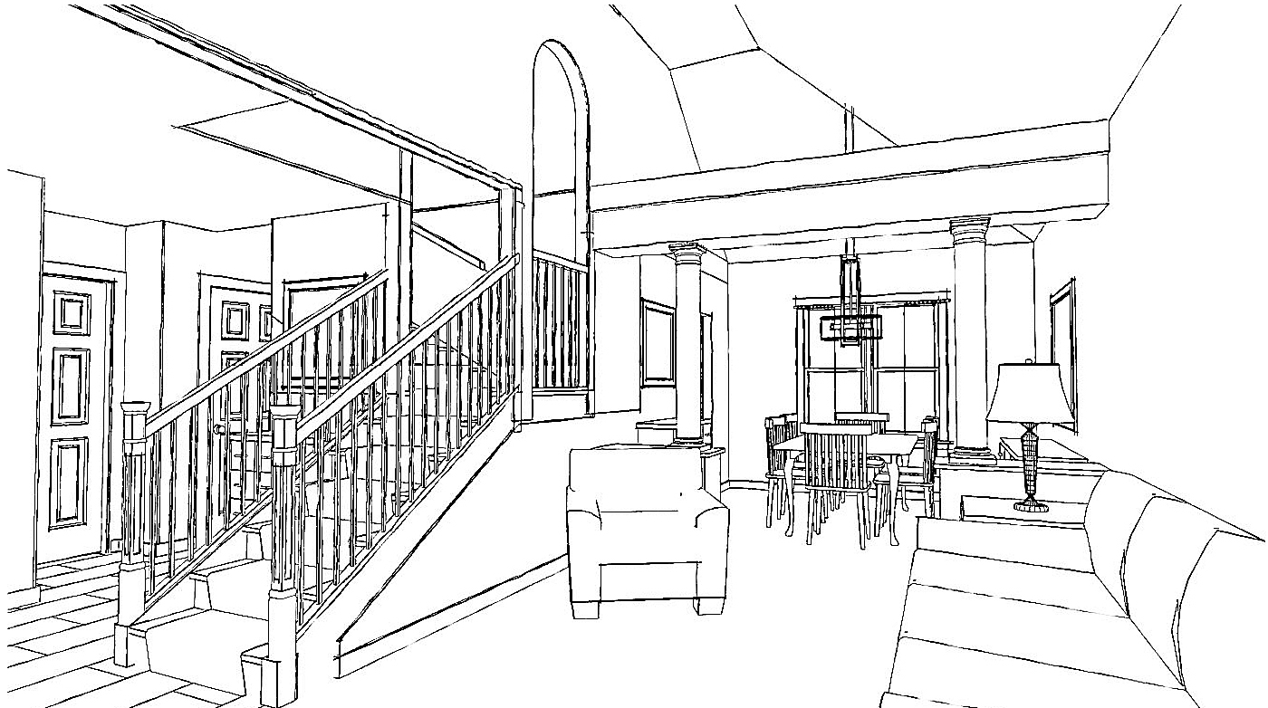 NJW Construction from Blueprint to Reality living room line drawing