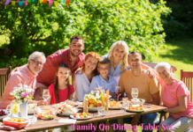 Family On Dining Table Set