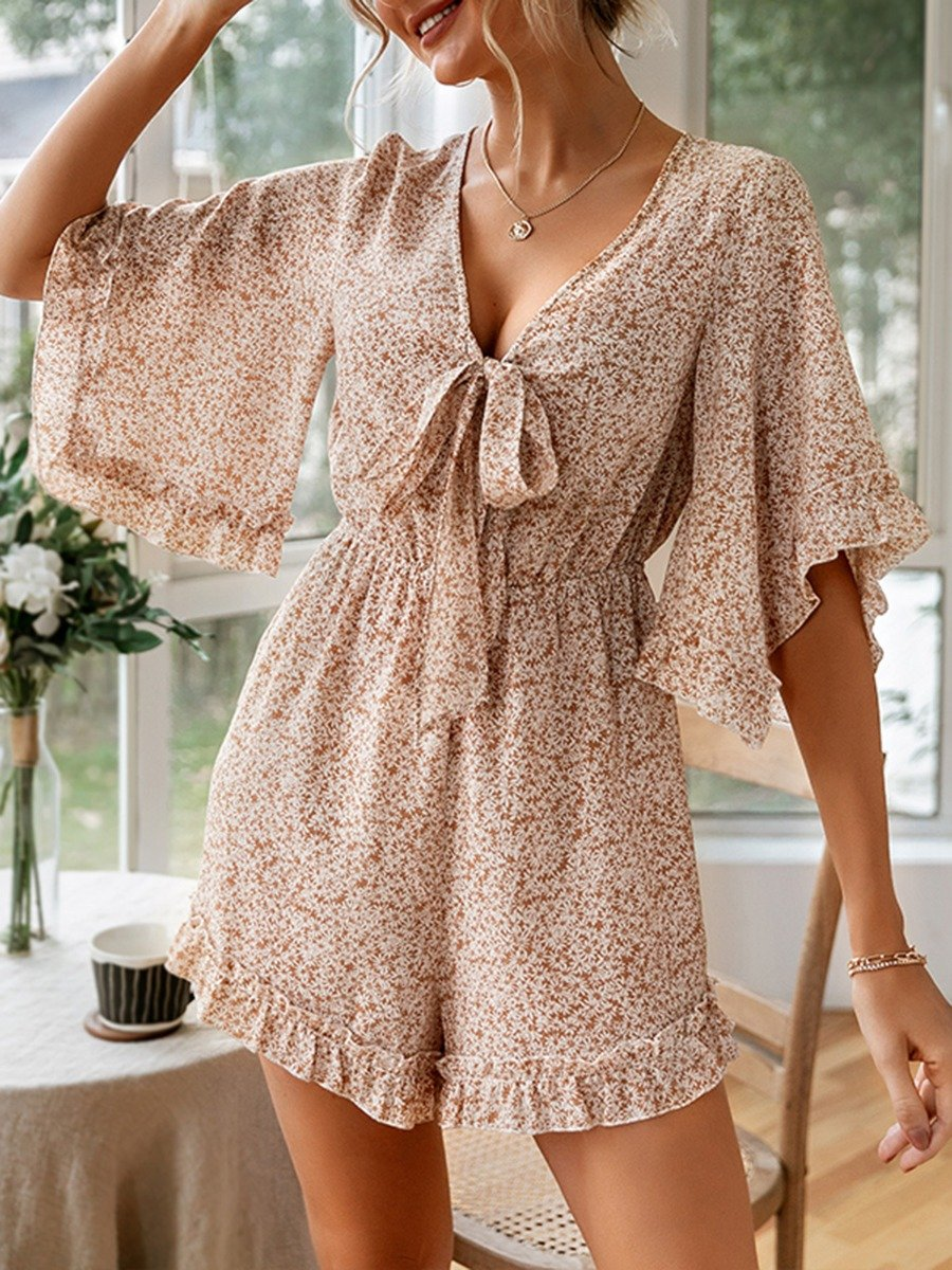 Flare Sleeve Knot Front Floral Print Ruffle Romper