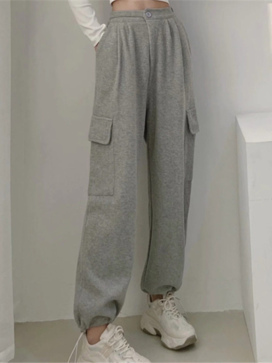 Solid Color Pleated Pull-on Cargo Pants