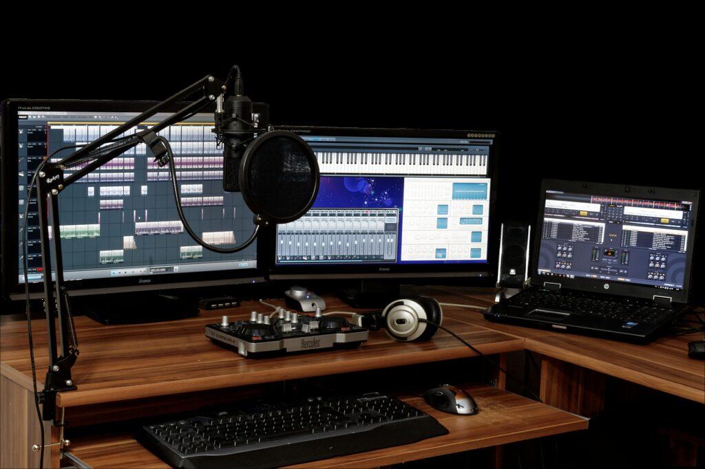 studio, music, mixer