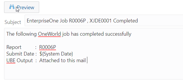 review  Subject EnterpriseOne Job R0006P , XJDEOOOI Completed  The following OneWorld job has completed successfully  Repon  . R0006P  ${System Date}  Submit Date :  . Attached to this mail  UBE Output