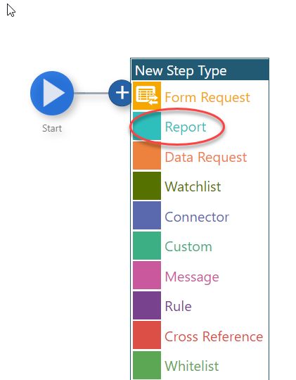 Start  New Step Type  Form Request  Report  Data Request  Watchlist  u  Connector  Custom  Message  Rule  u  Cross Reference  Whitelist