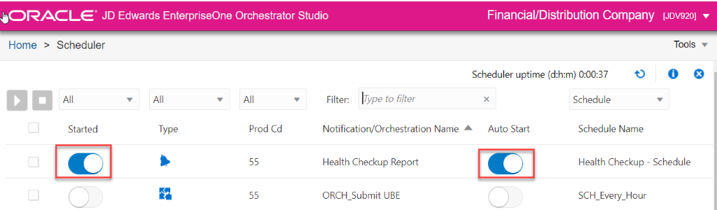 ORACLE' JD Edwards EnterpriseOne Orchestrator Studio  Home > Scheduler  Filter: Type to filter  Financial/Distribution Company [JDV920]  Tools  Scheduler uptime (d:h:m) 0:00:37  Schedule  Started  Type  Prod Cd  55  55  Notification/Orchestration Name  Health Checkup Report  ORCH Submit UBE  A  Auto Start  Schedule Name  Health Checkup - Schedule  SCH Every Hour