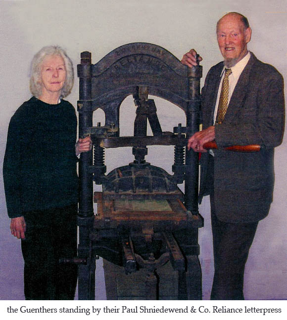 Elaine and Bill Guenther with their Reliance letterpress