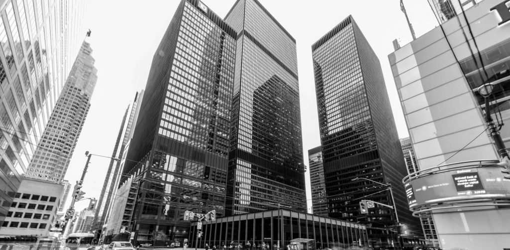 market making services - downtown city buildings in black and white