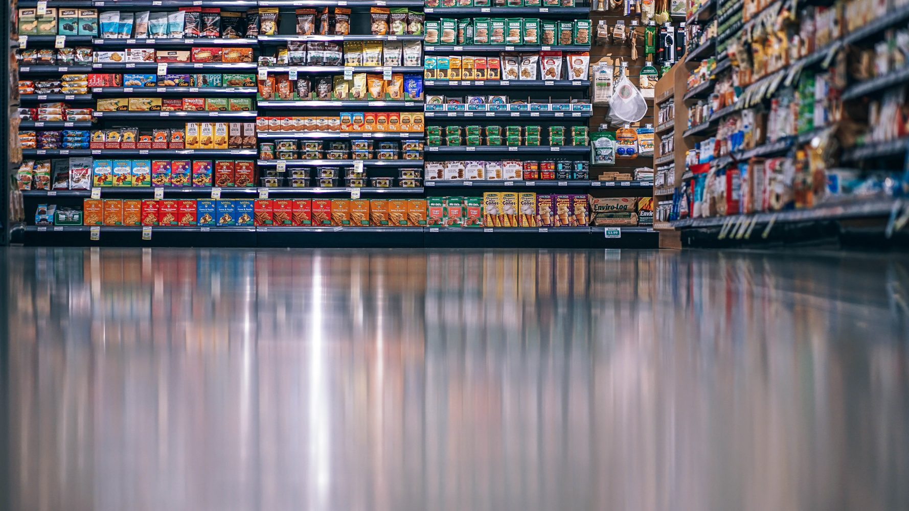 Products sitting on grocery store shelves