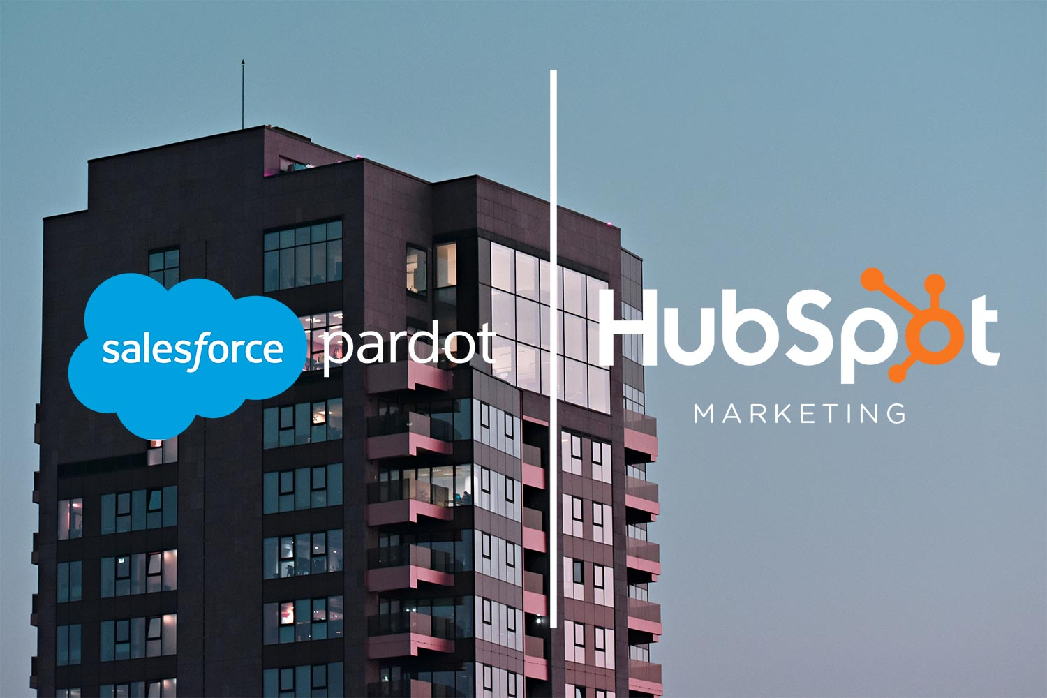 Salesforce Pardot and Hubspot Marketing logos in front of a large high rise office building