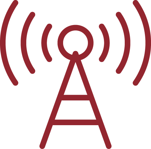 Icon of a communications tower emitting radio waves