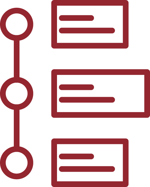 Icon of a vertically aligned timeline or process