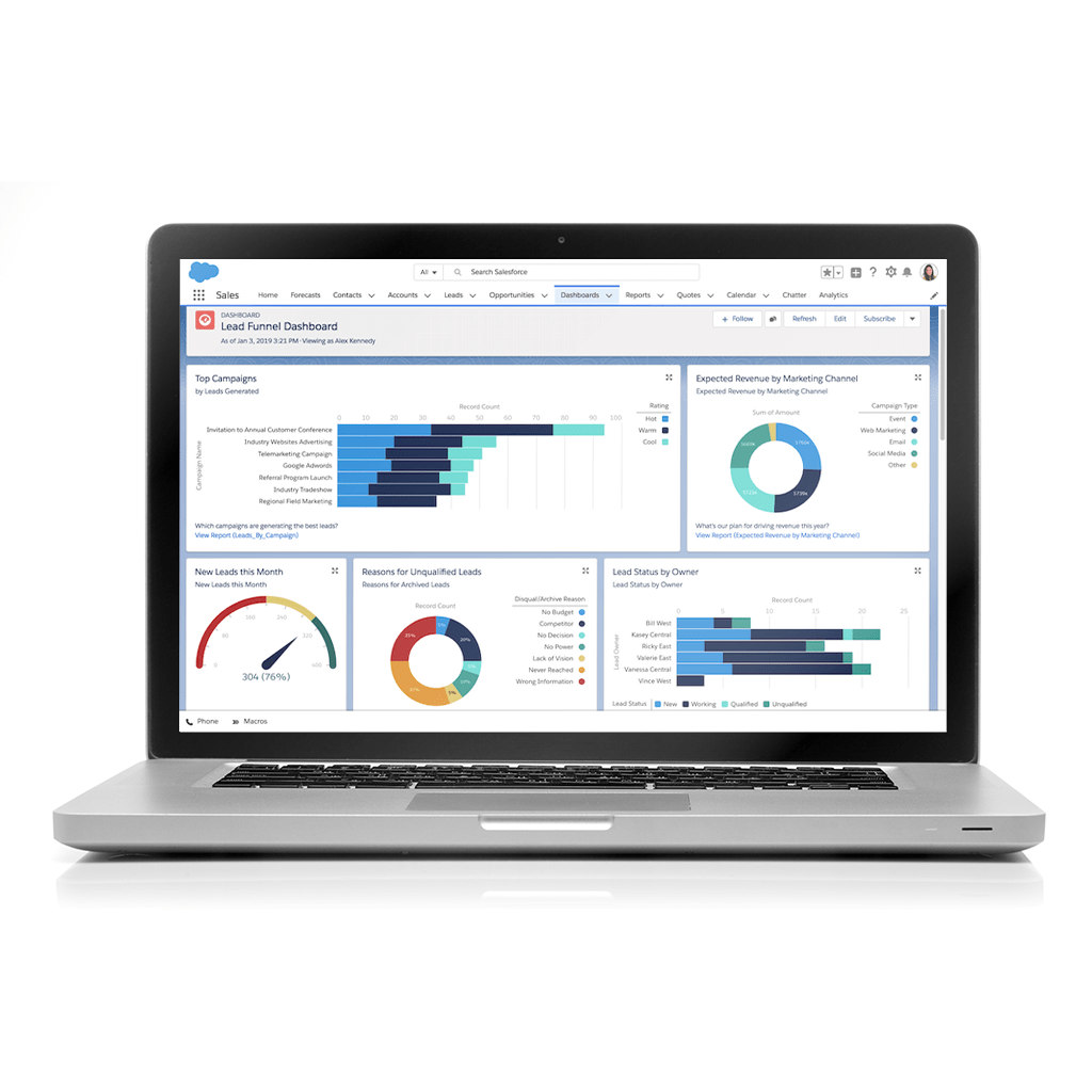 Laptop computer with a Salesforce dashboard screen