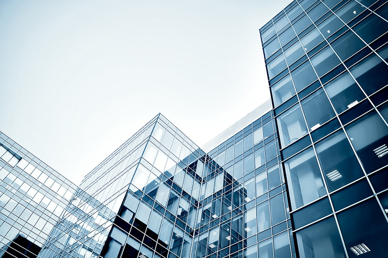 Exterior of a glass office building