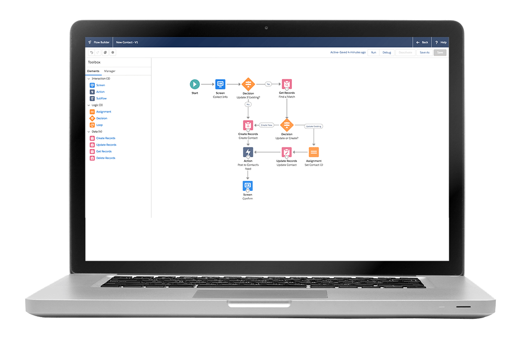 Laptop computer with a Salesforce flow builder on screen