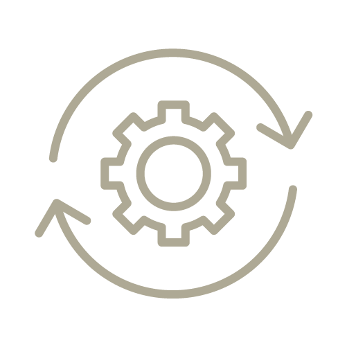 Icon of a gear with arrows cycling around it