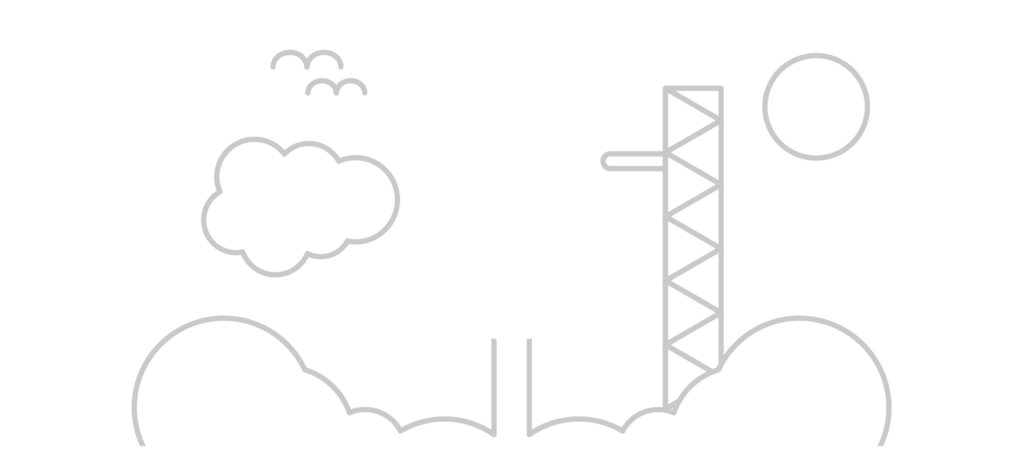 Icon of a rocket ship lifting off from a launch pad