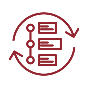 Icon of a vertically aligned timeline or process with arrows cycling around it