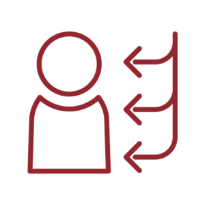 Icon of person with three arrows pointing at them