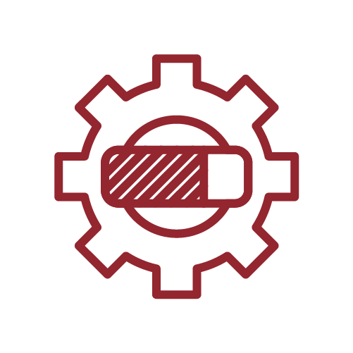 Icon of a gear with a progress bar in front of it