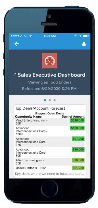 cell phone with a Salesforce Sales Executive dashboard on the screen