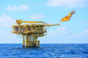 Large oil rig in the ocean