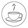 Coffee cup up arrow