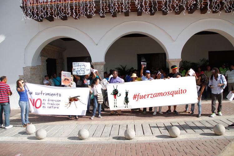 Protesta ayer en Cartagena.