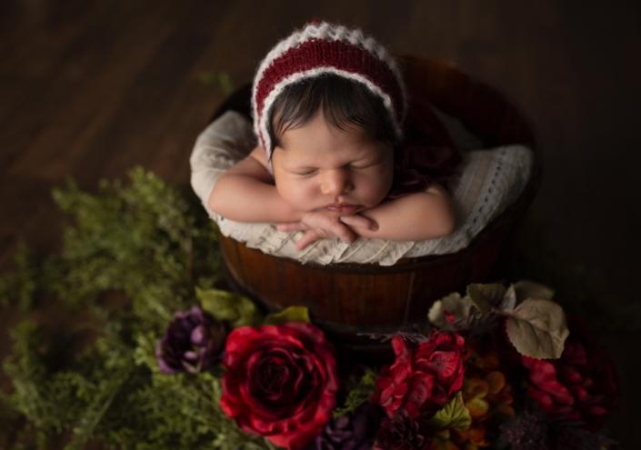 Newborn Photos baby in red basket