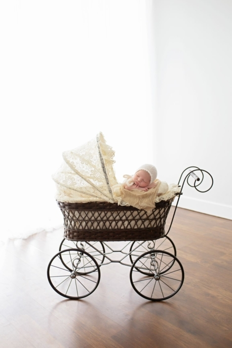 Vintage stroller with baby