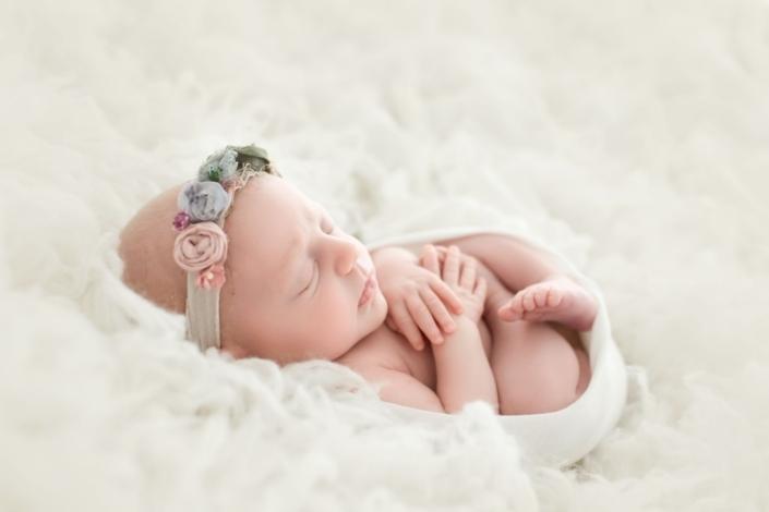 Fine art newborn portrait with white backdrop