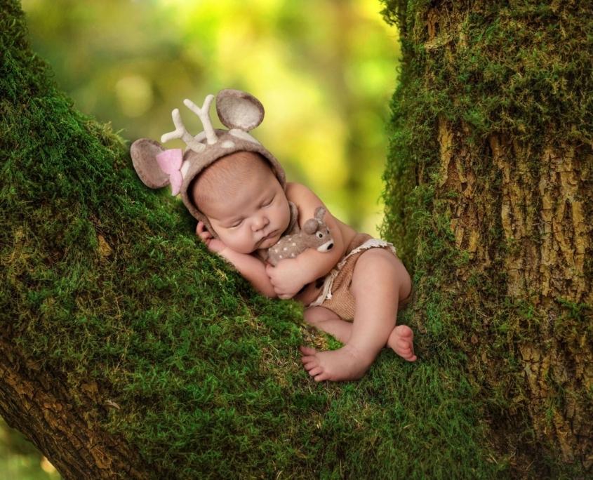Newborn sleeping on mossy tree
