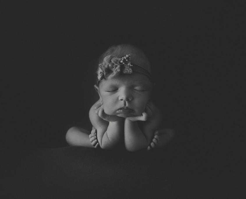 Back and white fine art newborn photo