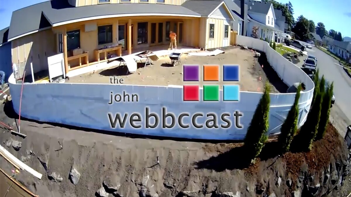 Drone Flyover with podcast logo