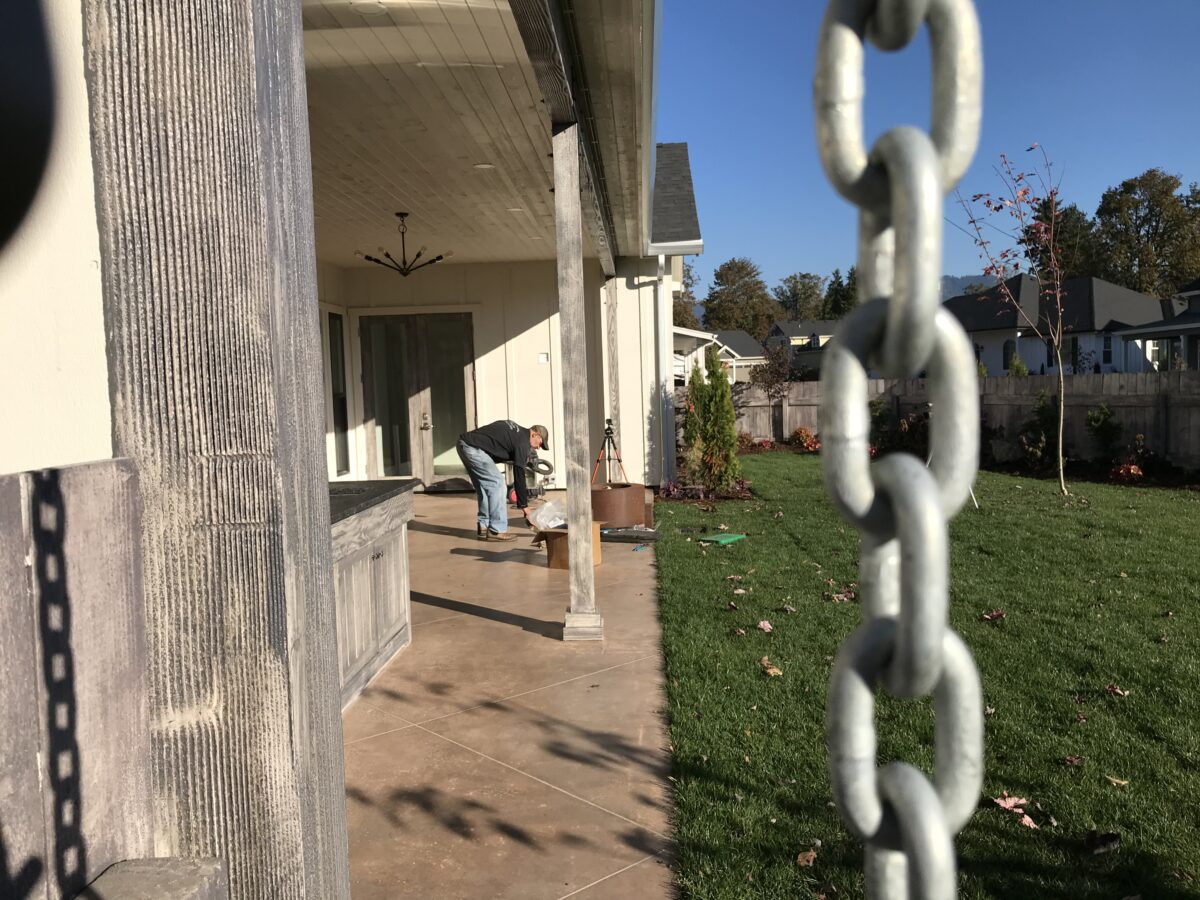 Gutter Chain and patio