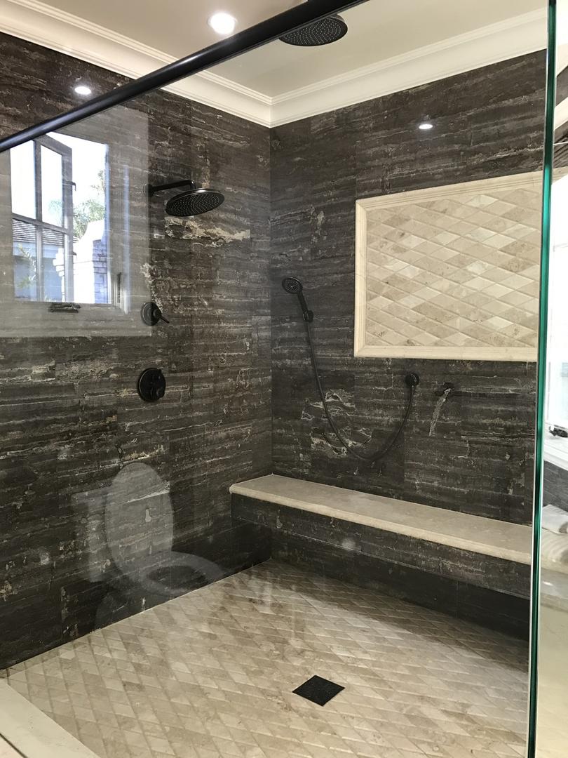Black shower area